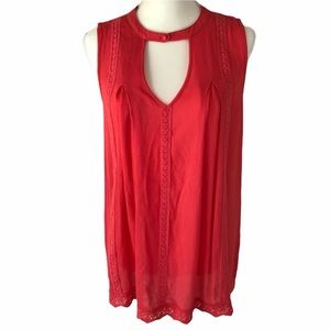 BLU PEPPER Top Blouse Long Lace Red Sleeveless